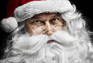 Santa claus's human face at studio shot
