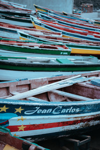SANTO ANTAO ISLAND, CAPE VERDE - December 26, 2017: Multicolored local fishing boats waiting on the coast of good weather. Ponta do Sol Santo Antao Cape Verde