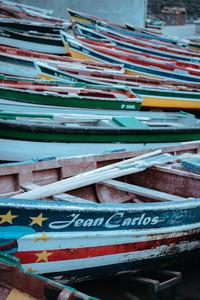 SANTO ANTAO ISLAND, CAPE VERDE - December 26, 2017: Multicolored local fishing boats waiting on the coast of good weather. Ponta do Sol Santo Antao Cape Verde