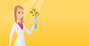 Scientist holding test tube with sprout. Woman analyzing sprout in test tube. Laboratory assistant in medical gown holding test tube with sprout. Vector flat design illustration. Horizontal layout.