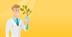 Scientist holding test tube with young sprout. Man analyzing sprout in test tube. Laboratory assistant in medical gown holding test tube with sprout. Vector flat design illustration. Horizontal layout