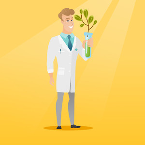 Scientist holding test tube with young sprout. Man analyzing sprout in test tube. Laboratory assistant in medical gown holding test tube with sprout. Vector flat design illustration. Square layout.