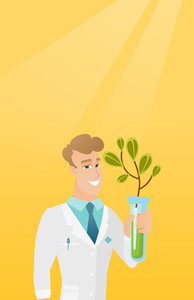 Scientist holding test tube with young sprout. Man analyzing sprout in test tube. Laboratory assistant in medical gown holding test tube with sprout. Vector flat design illustration. Vertical layout.