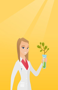 Scientist holding test tube with young sprout. Woman analyzing sprout in test tube. Laboratory assistant in medical gown holding test tube with sprout. Vector flat design illustration. Vertical layout