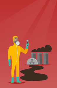 Scientist in radiation protective suit holding test-tube. Scientist in radiation protective suit standing on the background of nuclear power plant. Vector flat design illustration. Vertical layout.