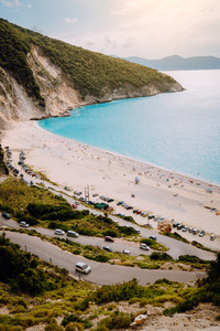 Serpentine road lead to Famous Myrtos Beach. Most visited place on Kefalonia during cruise travel trip