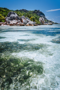 Shallow water with algal plants in front of unique Anse Source D'Argent tropical beach, La Digue Seychelles. Luxury exotic travel concept