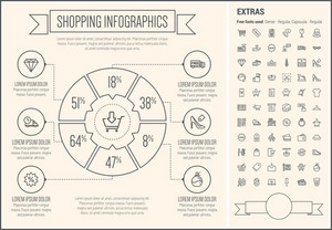 Shopping infographic template and elements. The template includes the following set of icons -  sale, cart, necktie, basket, mannequin, cash bill, free tag, checklist, diamond, credit card and more. Modern minimalistic flat thin line vector design.