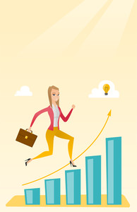 Smiling business woman standing on profit chart. Caucasian successful business woman running along the profit chart. Concept of business profit. Vector flat design illustration. Vertical layout.