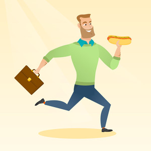 Smiling caucasian business man eating hot dog in a hurry. Business man eating on the run. Young business man running with briefcase and eating hot dog. Vector flat design illustration. Square layout.
