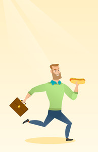 Smiling caucasian business man eating hot dog in a hurry. Business man eating on the run. Young business man running with briefcase and eating hot dog. Vector flat design illustration. Vertical layout