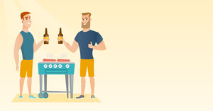 Smiling caucasian friends having a barbecue party. Friends preparing barbecue and drinking beer. Group of friends having fun at a barbecue party. Vector flat design illustration. Horizontal layout.