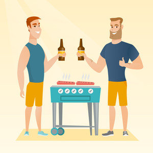 Smiling caucasian male friends having a barbecue party. Friends preparing barbecue and drinking beer. Group of friends having fun at a barbecue party. Vector flat design illustration. Square layout.