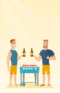 Smiling caucasian male friends having a barbecue party. Friends preparing barbecue and drinking beer. Group of friends having fun at a barbecue party. Vector flat design illustration. Vertical layout.