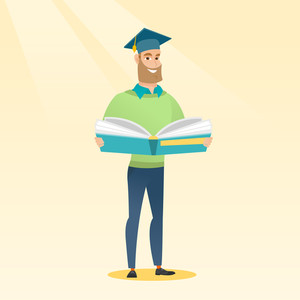 Smiling caucasian student in graduation cap reading a book. Graduate standing with a big open book in hands. Man holding a book. Concept of education. Vector flat design illustration. Square layout.