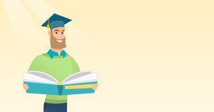 Smiling caucasian student in graduation cap reading book. Graduate standing with a big open book in hands. Man holding a book. Concept of education. Vector flat design illustration. Horizontal layout.