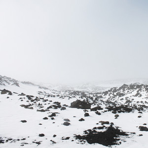 snow and frozen lava