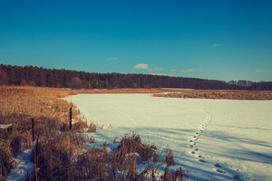 Snowy rural landscape. Frozen lake covered with snow.