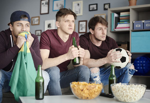 Soccer fans in the living room