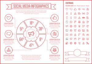 Social Media infographic template and elements. The template includes the following set of icons - searching, tag, internet, computer, social network, laptop and more.