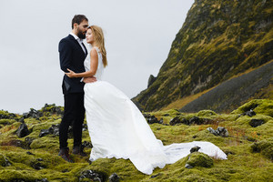Solitude of bride and groom in the far land