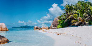 Spectacular Anse Source d'Argent beach on island La Digue in Seychelles. Paradise relaxation summer vacation concept