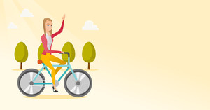 Sportive woman riding a bicycle in the park. Cyclist riding bicycle and waving hand. Young woman on a bicycle outdoors. Healthy lifestyle concept. Vector flat design illustration. Horizontal layout.