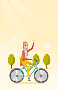 Sportive woman riding a bicycle in the park. Cyclist riding bicycle and waving her hand. Young woman on a bicycle outdoors. Healthy lifestyle concept. Vector flat design illustration. Vertical layout.