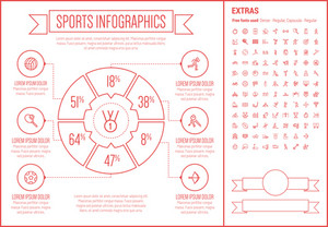 Sports infographic template and elements. The template includes the following set of icons - chess hook, hockey puck, football halmet, marathon, walking, skydiving, high jump and more. Modern minimalistic flat thin line vector design.