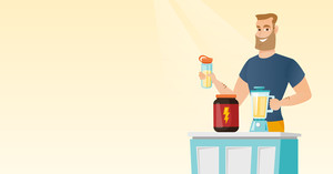 Sportsman making protein shake using blender. Hipster man preparing protein cocktail of bodybuilding food supplements. Man cooking protein cocktail. Vector flat design illustration. Horizontal layout.