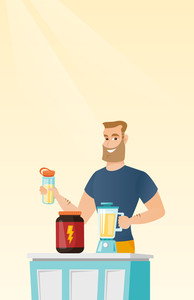 Sportsman making protein shake using blender. Hipster man preparing protein cocktail of bodybuilding food supplements. Man cooking protein cocktail. Vector flat design illustration. Vertical layout.