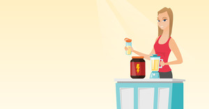Sportswoman making protein shake using blender. Woman preparing protein cocktail of bodybuilding food supplements. Woman cooking protein cocktail. Vector flat design illustration. Horizontal layout.
