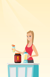 Sportswoman making protein shake using blender. Woman preparing protein cocktail of bodybuilding food supplements. Woman cooking protein cocktail. Vector flat design illustration. Vertical layout.
