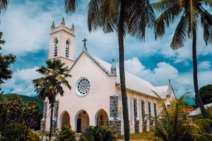 St. Roch Roman Catholic Church in the small location Beau Vallon, Mahe Island, Seychelles.