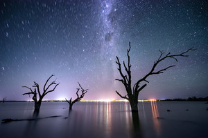 Star trails over Lake Bonney in South Australia
