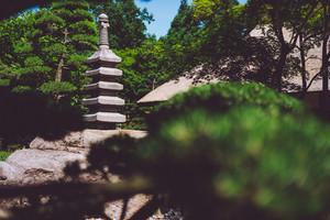 Stone sculpture in Japanese Garden in Hamburg
