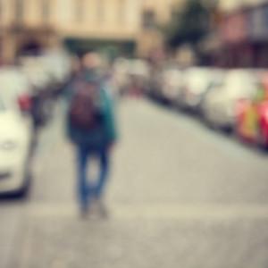 Street background blur. People city