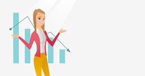 Stressed caucasian bancrupt standing on the background of decreasing chart. Bancrupt business woman with spread arms. Business bankruptcy concept. Vector flat design illustration. Horizontal layout.