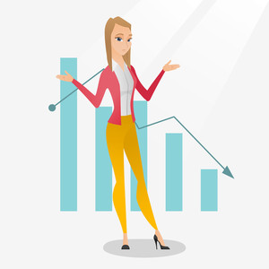 Stressed caucasian bancrupt standing on the background of decreasing chart. Young bancrupt business woman with spread arms. Business bankruptcy concept.Vector flat design illustration. Square layout.