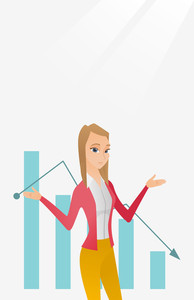 Stressed caucasian bancrupt standing on the background of decreasing chart. Young bancrupt business woman with spread arms. Business bankruptcy concept.Vector flat design illustration. Vertical layout