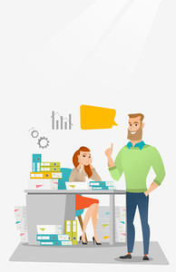 Stressed office worker looking at her happy employer. Stressful employee sitting at workplace with many stacks of papers. Concept of stress at work. Vector flat design illustration. Vertical layout.