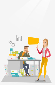Stressed office worker looking at his happy employer. Stressful employee sitting at workplace with many stacks of papers. Concept of stress at work. Vector flat design illustration. Vertical layout.