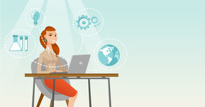 Student sitting at table and working on laptop. Student working on laptop connected with icons of school sciences. Educational technology concept. Vector flat design illustration. Horizontal layout.