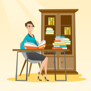 Student sitting at the table and holding a book in hands. Smiling student reading a book. Student reading a book and preparing for exam in the library. Vector flat design illustration. Square layout.