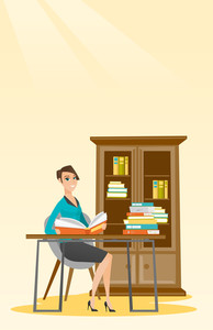 Student sitting at the table and holding a book in hands. Smiling student reading a book. Student reading a book and preparing for exam in the library. Vector flat design illustration. Vertical layout
