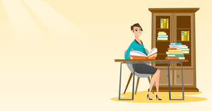 Student sitting at the table and holding book in hands. Smiling student reading a book. Student reading a book and preparing for exam in the library. Vector flat design illustration. Horizontal layout