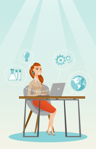 Student sitting at the table and working on laptop. Student working on laptop connected with icons of school sciences. Educational technology concept. Vector flat design illustration. Vertical layout.