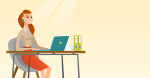 Student sitting at the table with laptop. Girl using laptop for education. Woman working on laptop and writing notes. Educational technology concept. Vector flat design illustration. Horizontal layout