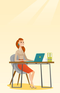 Student sitting at the table with laptop. Woman using laptop for education. Woman working on laptop and writing notes. Educational technology concept. Vector flat design illustration. Vertical layout.