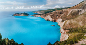 Stunning scenery of Kefalonia island during summer. Majestic peaceful nature landscape and sea shore of turquoise mediterranean sea